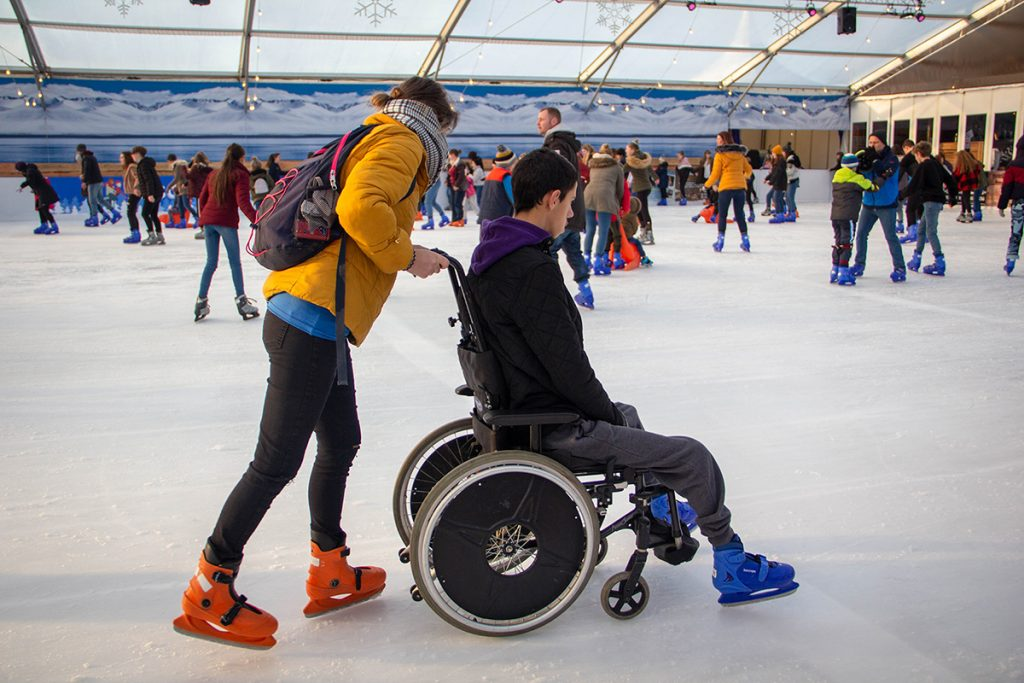 Wheelchair on the ice at The Tropicana